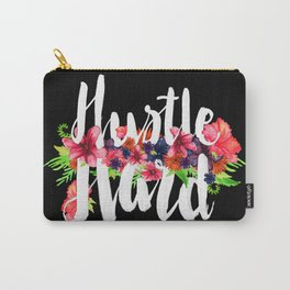 Hustle Hard - Black Floral Carry-All Pouch