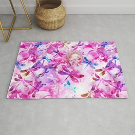 Dragonfly Lullaby in Pink and Blue Rug