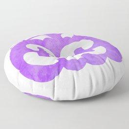 Halloween Watercolor Pumpkin Face Purple Floor Pillow