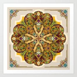 Mandala Sacred Rams - Bright Version Art Print