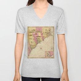 Vintage Map of The Carolinas (1683) Unisex V-Neck