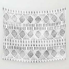 Aztec I Pattern Black and White Wall Tapestry