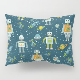 Robots in Space - Blue + Green Pillow Sham