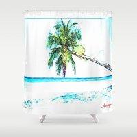 cuba Shower Curtains featuring Cuba , Playa  ( Cuba , beach ) by arnedayan