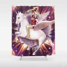 Andora: Drag Queen Riding a Unicorn Shower Curtain