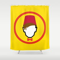 fez Shower Curtains featuring Man With Fez by Evan Ayres