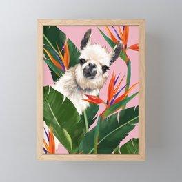 Llama in Bird of Paradise Flowers Framed Mini Art Print