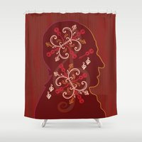 mid century Shower Curtains featuring Mid-Century Mozart by Fugue & Fury