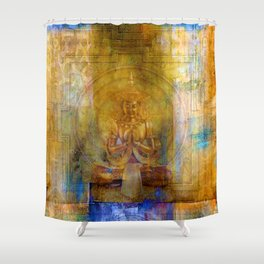Golden yantra Shower Curtain