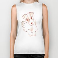 jack russell Biker Tanks featuring Jack russell by 1 monde à part