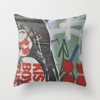 graffiti Throw Pillows featuring Graffiti by AntWoman
