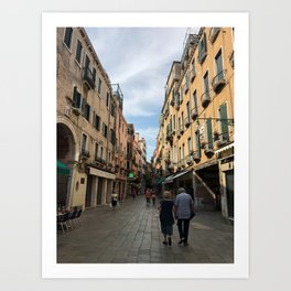 Old Couple Holding Hands in Italy Art Print