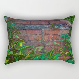 Brick Shed Green Foliage Rectangular Pillow