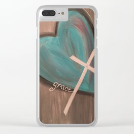 Grace Heart Cross Clear iPhone Case
