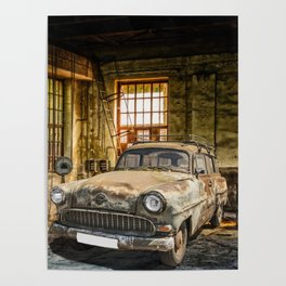 Old Car in a Garage Poster