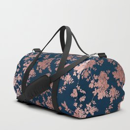 Navy blue faux rose gold watercolor floral Duffle Bag