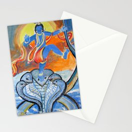 lord krishna on snake painting Stationery Cards