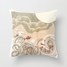 wave scape Throw Pillow