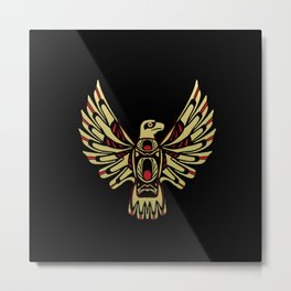Tribal Black and Gold Eagle Digital Design Metal Print