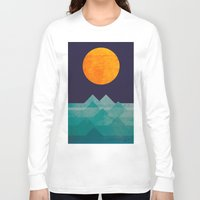 wave Long Sleeve T-shirts featuring The ocean, the sea, the wave - night scene by Picomodi