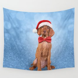 Drawing funny Vizsla pointer in red hat of Santa Claus Wall Tapestry