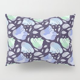 Modern abstract mint pastel purple floral illustration Pillow Sham