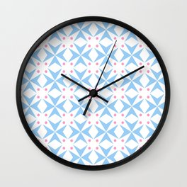 star and polka dot 3 - blue and pink Wall Clock