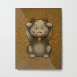 maneki-neko | Lucky Cat (White) Metal Print