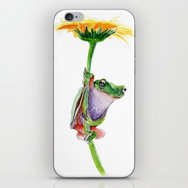 frog on a dandelion iPhone Skin