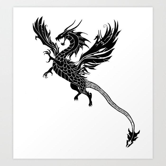 Tribal Dragon Tattoo Art Print By Arahana