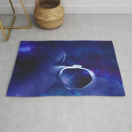 Surrounded by starry space in human head Rug
