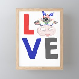 Love Cow Framed Mini Art Print