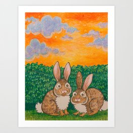 Rabbits in the Bushes Art Print
