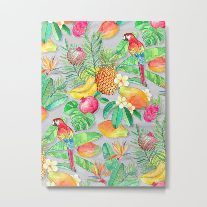 Tropical Paradise Fruit & Parrot Pattern Metal Print