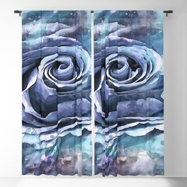 French Blue Lilac and Cerulean Artistic Romantic Rose Blackout Curtain