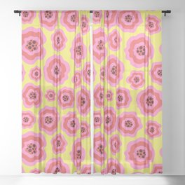 Unique pink liquid flowers on yellow blackground Sheer Curtain