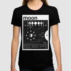 Phases of the Moon infographic MEDIUM Black Womens Fitted Tee