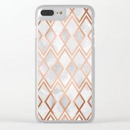 Copper & White Geo Diamonds Clear iPhone Case