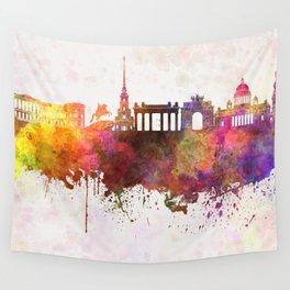 Saint Petersburg skyline in watercolor background Wall Tapestry