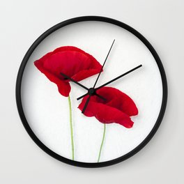 Two Red Poppies Wall Clock