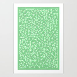 Connectivity - White on Mint Green Art Print
