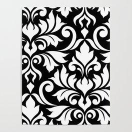Flourish Damask Art I White on Black Poster