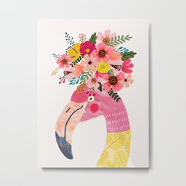 Pink flamingo with flowers on head Metal Print