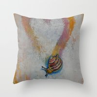 snail Throw Pillows featuring Snail by Michael Creese