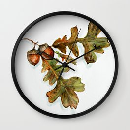 October - oak leaves watercolor  Wall Clock