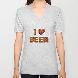 I Love Beer Unisex V-Neck