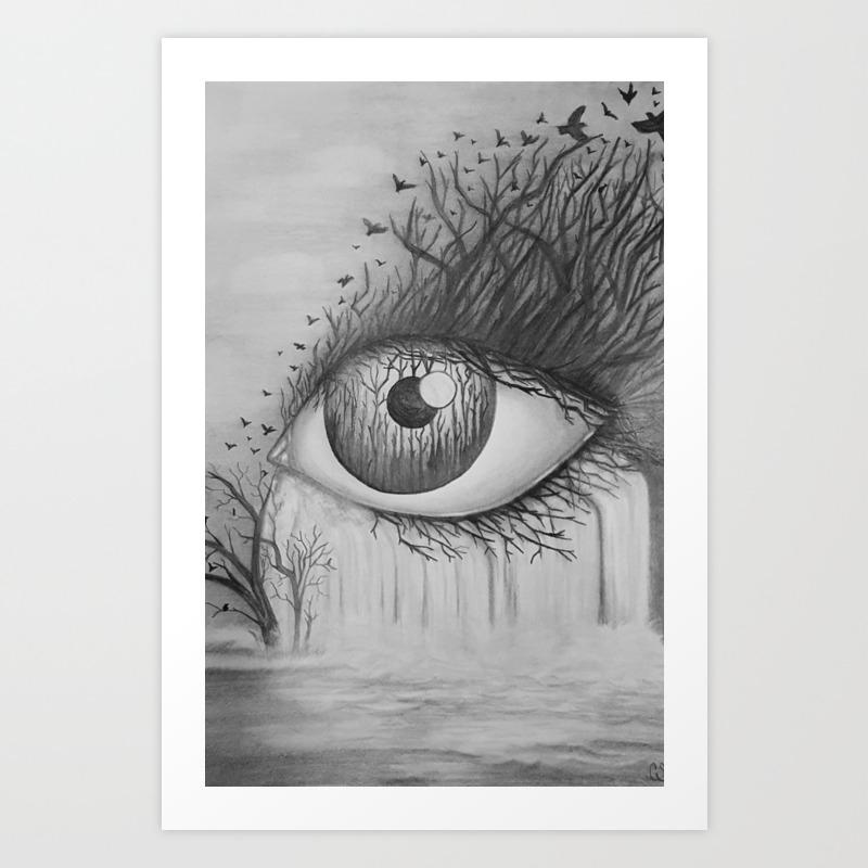 Eye with waterfall pencil drawing art print