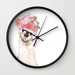 Llama with Beautiful Flowers Crown Wall Clock