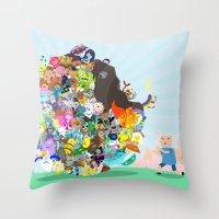 katamari Throw Pillows featuring Adventure Time - Land of Ooo Katamari by Sin nombre