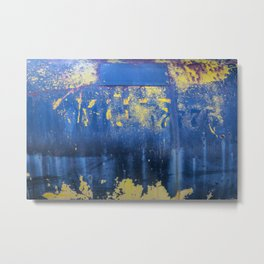 Blue and Yellow Rust Abstact Metal Print
